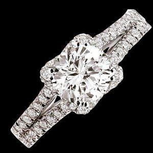 2 carat Round brilliant diamonds double shank ring